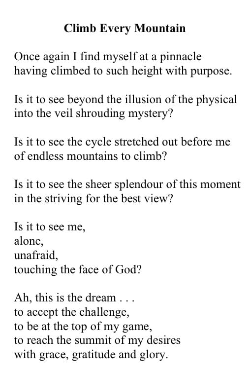 poem by Helen Maupin called Climb Every Mountain