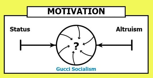 motivation continuum converges between status and altruism to become Gucci Socialism