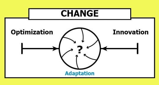 change continuum converges between optimization and innovation to become adaptation