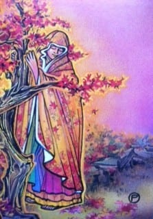 Osho Tarot Card - woman embracing a tree