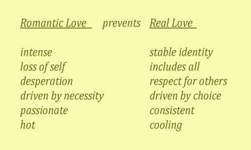 list of romantic vs real love characteristics