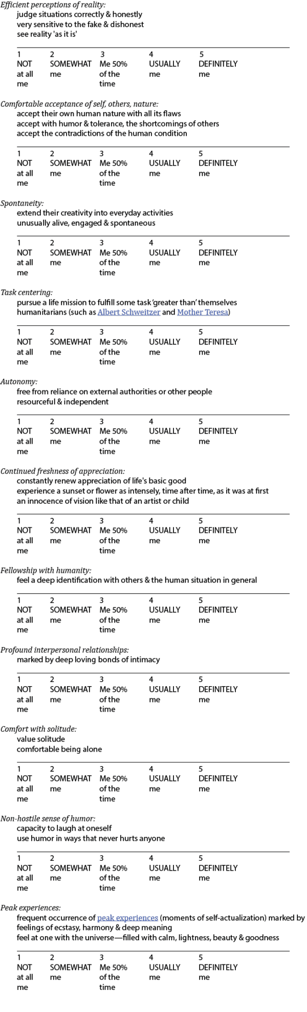 Self-actualizer Assessment