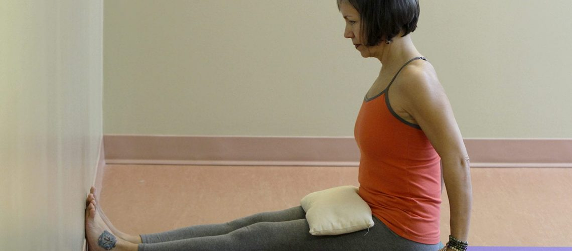 dandasana editted weight on thighs, feet to wall 230